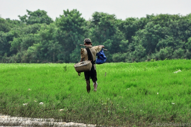 13) worker walking in field